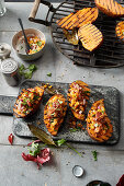 Grilled sweet potatoes with bacon and apricot salsa