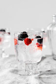 Refreshing infused tonic water with blackberries, raspberries and ice cubes