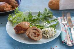 Pork rolls with cream cheese