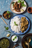 Simple Indian style chicken curry and fried anchovies