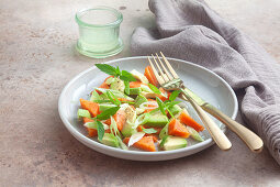 Papaya and avocado salad with lime vinaigrette