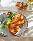 Breaded pollack with lemon and parsley