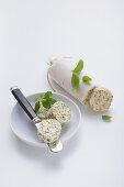 Homemade herb butter for gratinating