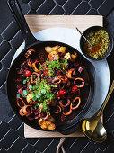 Calamari casserole with green chilli romesco