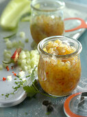 A jar of cucumber and shallot chutney