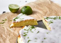 Lime cake, cut