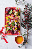 Colorful beetroot salad with feta and ruby ??grapefruit dressing for Christmas