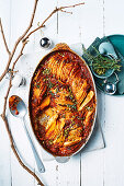 Baked pumpkin with thyme and brie
