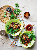 Black bean chicken and eggplant san choy bow