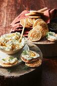 Blini with sea urchin cream cheese and dill (Island)