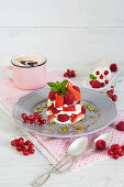 Lime cream with strawberries and crispy strudel dough