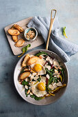 Colorful chard pan with fried eggs and crostini