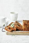 Zucchini, goat's cheese, chorizo and dark rye loaf