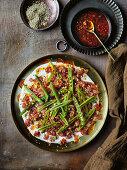 Sugar snap peas, tuna tartare and Aleppo pepper dressing