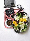 Vegan cherry, orange and fennel salad