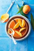 Creme caramel with mango mojito syrup