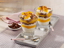 Peach trifle with cottage cheese