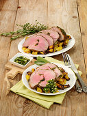 Leg of lamb with herb crust and gremolata