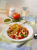 Minestrone with prawns spear