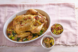 Chicken with leek stuffing and liver