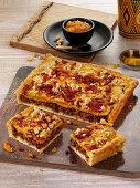 Südafrikanische Pizza mit Lamm, Mangochutney und Süßkartoffeln