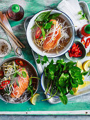 Salmon Pho with kelp noodles