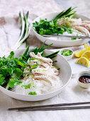 Bang Bang Hähnchensalat mit Kräutern und Mungbohnennudeln (China)