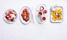 Fruity beauties - variety of summer salads