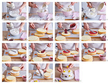 Baking spring cake with edible flowers