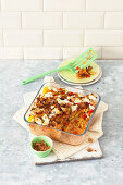 Hungarian pepper bake with sauerkraut and croutons