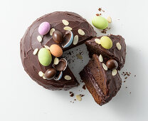 Chocolate cake with colourful Easter eggs