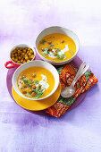 Pumpkin soup with spicy sour cream