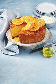 Sour cream and mandarin syrup cake