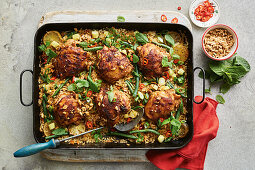 Thai chicken and rice tray bake