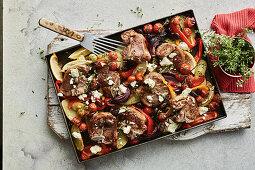 Mediterranean lamb tray bake