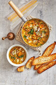Hearty lentil, bacon and vegetable soup