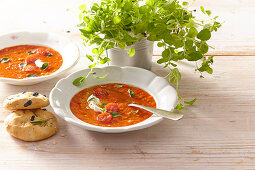 Tomato gazpacho with home baked focaccia + steps