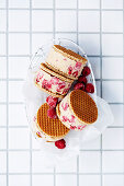 Vegan raspberry almond ice-cream sandwich