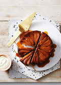 Sticky upside-down pear and gingerbread cake