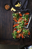 Loaded roast pumpkin with popped quinoa and almond dukkah