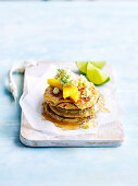 Pancakes with mango, ricotta and lime