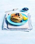 Blueberry, lemon and coconut pancakes