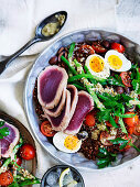 Seared tuna and quinoa Nicoise salad