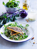 Bream and kohlrabi salad with buttermilk dressing