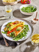 Herb and Lemon Grill-Steamed Salmon with grilled veggies and greens salad