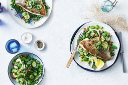 Snapper with crispy caper and lemon dressing