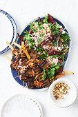 Beef and mushroom kebabs with buckwheat salad