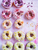 Cereal milk-glazed doughnuts with cereal topping