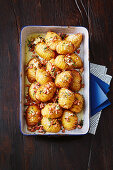 Hasselback potatoes with bacon butter
