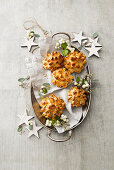 Bread flowers with pepper and black cumin for Christmas